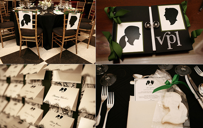 bride and groom silhouette details: chairbacks, table cards, and table place setting silhouette cookie