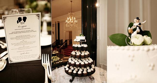 bride and groom silhouette on menu design, chocolate cupcake wedding cake