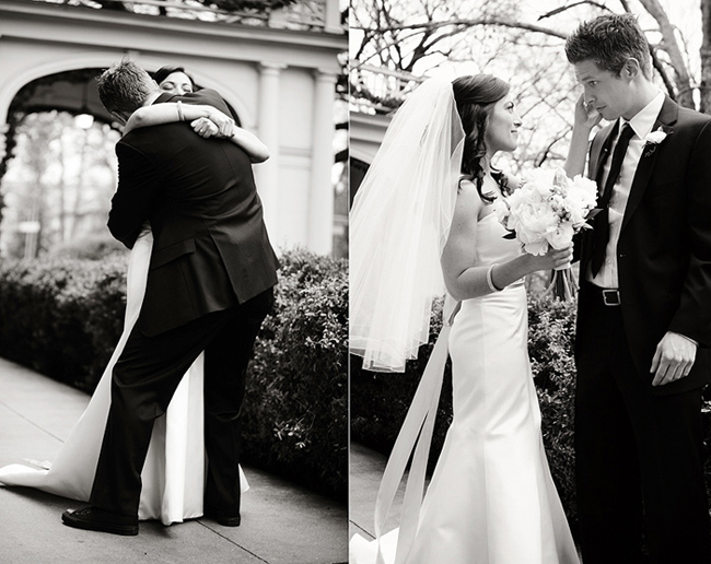 black and white photos of bride and groom's first look