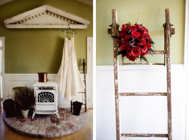 red flower bouquet on old ladder inside