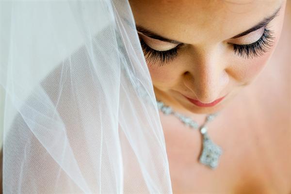 closeup of bride in veil