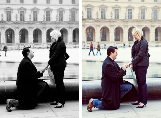 down on one knee to propose in Paris