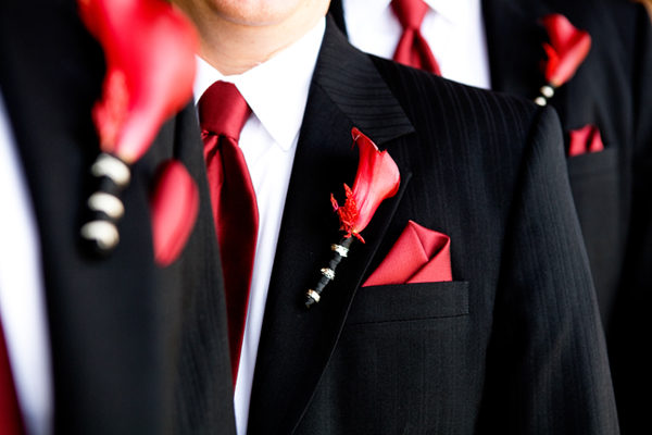 red neckties, pocket squares and flower boutonniere