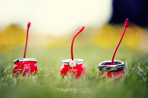 White gold engagement ring and wedding bands on red cherries on the lawn