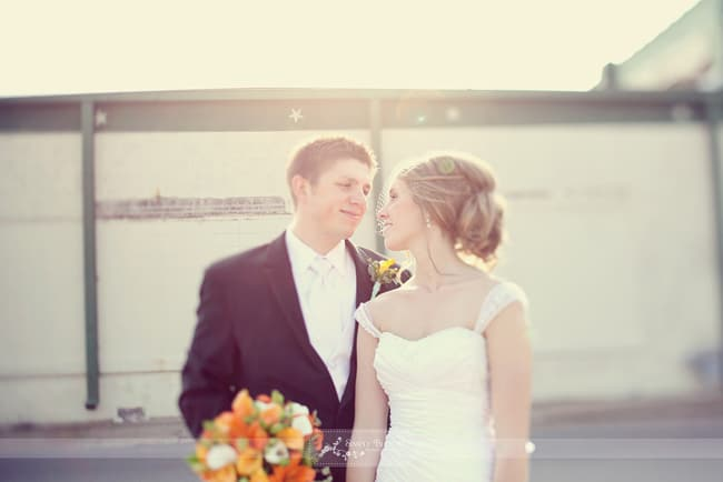 couple at sunset – bride in birdcage veil