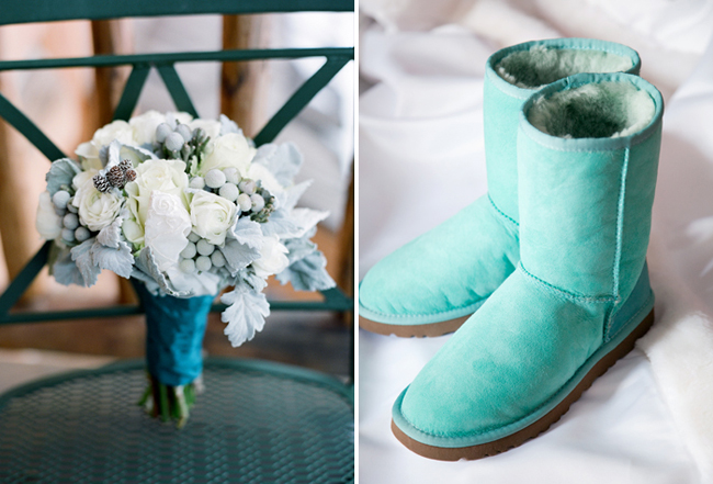 Bouquet and aqua blue Uggs