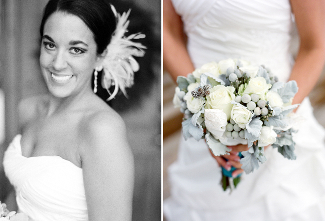 Smiling black and white photo of the bride; beautiful winter bouquet