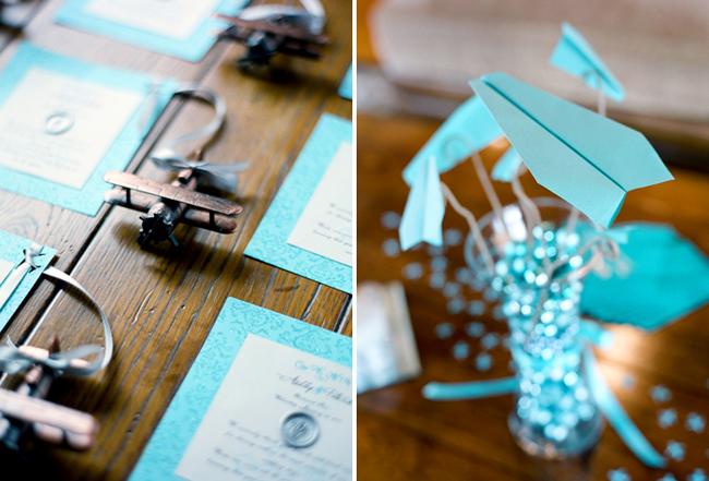 Aqua blue details and paper planes