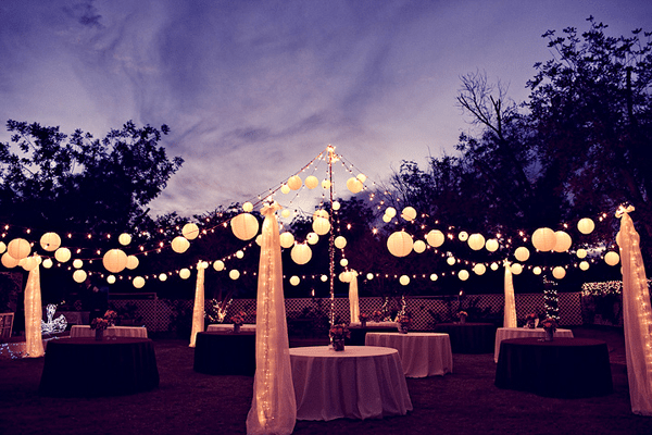 lanterns at dusk wedding reception