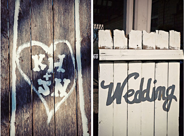 Wooden fence with a heart and initials for wedding decor (left photo); white fence with grey writing spelling wedding (right photo)