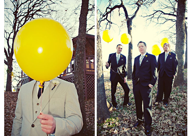 Groom standing in the forest wearing grey suit with white boutonniere holding big yellow balloon in front of face (left photo); 3 groomsmen wearing black suits standing in the forest with leaves on the ground holding 4 yellow balloons