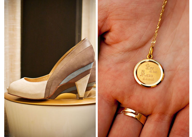 "White, grey, taupe bridal heels (left photo); gold necklace with charm that says """"This is so you always know that I love you more than yesterday, less than tomorrow."" in Italian"