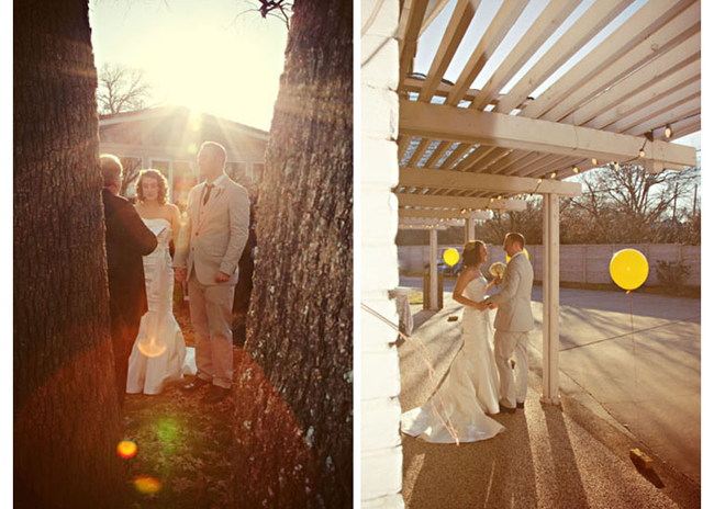 Bride and groom during wedding ceremony with marriage commissioner standing inbetween trees during ceremony. Bride wearing white strapless mermaid gown and groom wearing grey suit with black tie. (left photo); bride wearing white strapless gown with train and groom wearing grey suitstanding under arbor with 2 round yellow balloons (right photo)