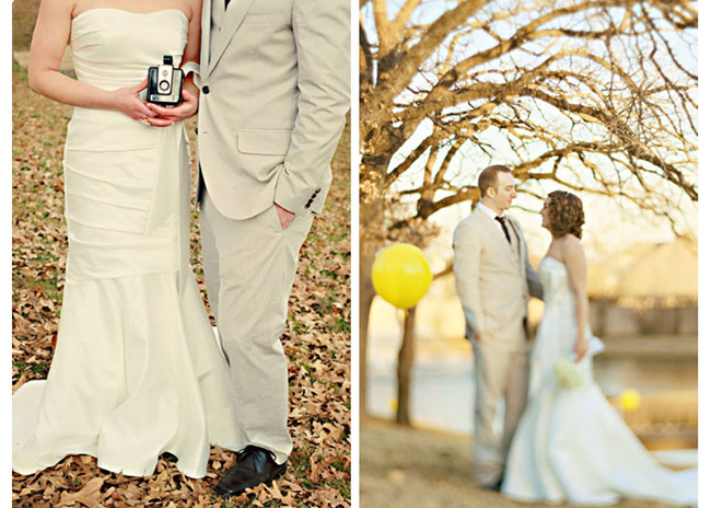 Brides wearing strapless white mermaid gown holding an old camera with groom wearing grey suit and black dress shoes standing in forest (left photo); bride wearing white strapless mermaid gown and groom wearing grey suit with black tie standing in forest with yellow balloon.