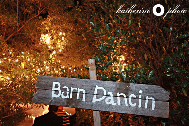 "Wooden sign with white paint spelling ""Barn Dancin"" for wedding reception with leafy trees behind"