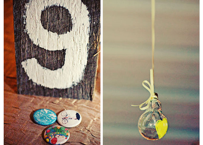 Wedding reception wood table painted white and wedding themed Oval Button with Safety Pin Back (right photo); light bulb hanging by yellow ribbon with yellow painted heart