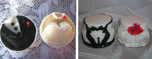 Wedding cupcakes with bride and groom theme