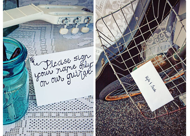 "Blue clear mason jar holding pens with a ""please sign your name on our guitar"" white paper sign and guitar used for wedding guest book (left photo); old bike with basket and a white letter to bride and groom (right photo)"