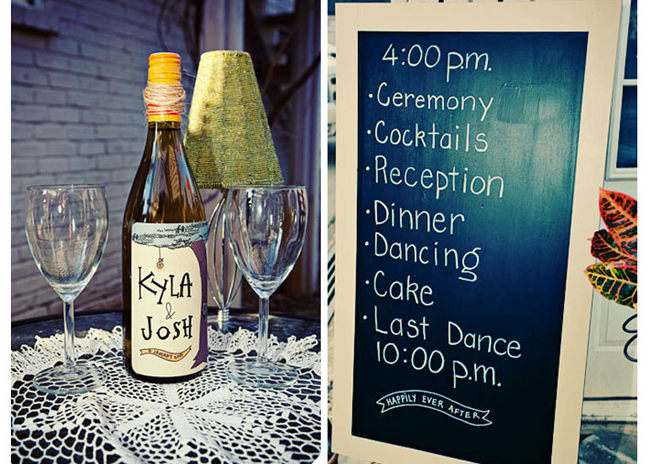 Bottle of wine with homemade wine label with bride and grooms names on it. 2 wine glasses atop a table with a white doiley (left photo); chalkboard sign with white frame with wedding reception times and details (right photo)