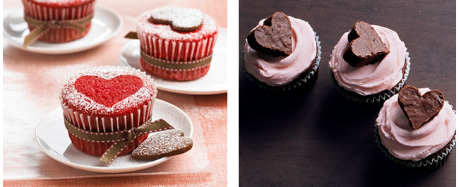 cupcakes with chocolate heart on top