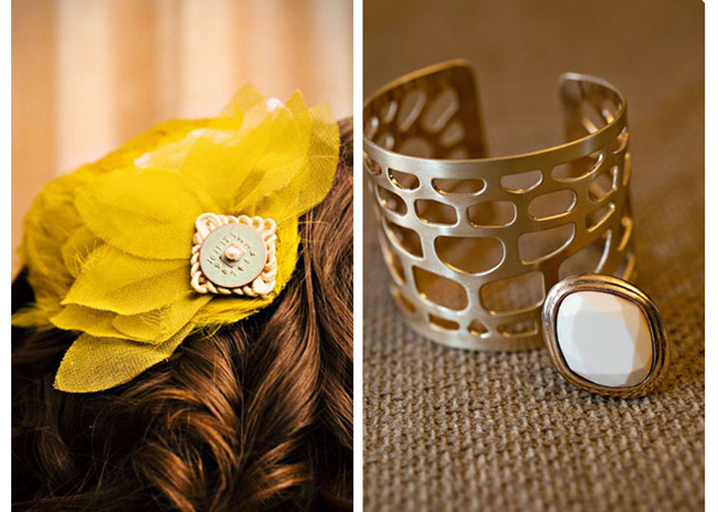Yellow bridesmaids flower for the hair with charm (left photo); gold metal bracelet and gold ring with white stone (right photo)