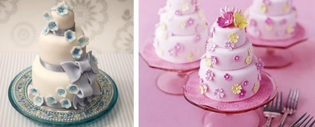 Two Mini Wedding Cake Cupcakes