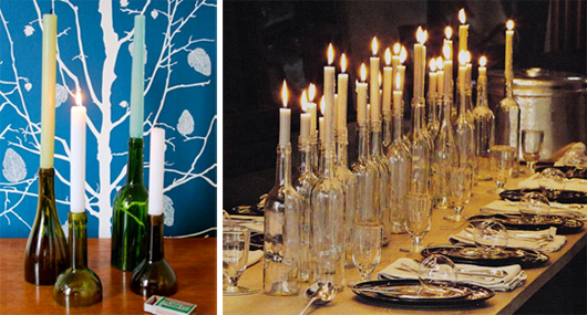 wedding centerpieces - wine bottles with candles