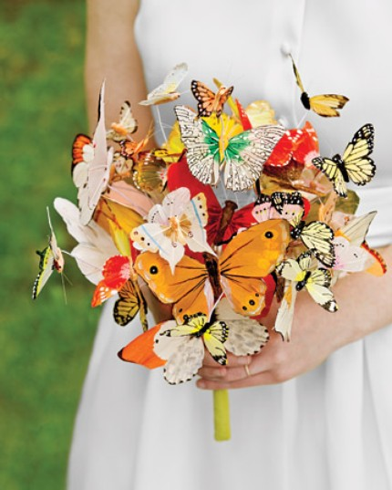 Multi-color bridal bouquet made with butterflies