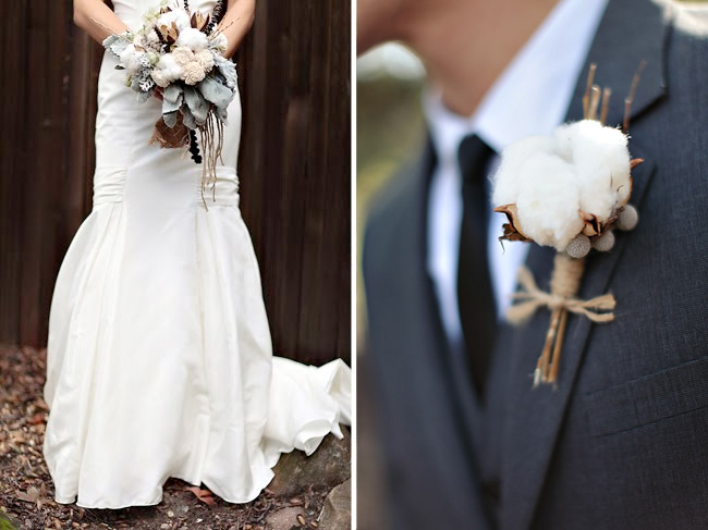 Cotton balls in bridal bouquet and boutonniere