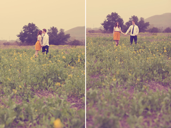 Engaged couple kissing in a field of yellow mustard flower. Girl wearing a mustard yellow skirt and white blouse and guy wearing a white shirt with black pants (left photo); Engaged couple holding hands in field of yellow mustard flowers.