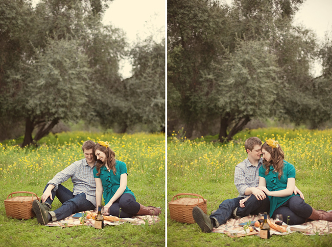 Couple with thir heads together outside while sitting on a picnic blanket with bread, wine, vintage books, pens and wood cutting board (left photo); Couple holding hands outside while sitting on a picnic blanket with bread, wine, vintage books, pens and wood cutting board (right photo)