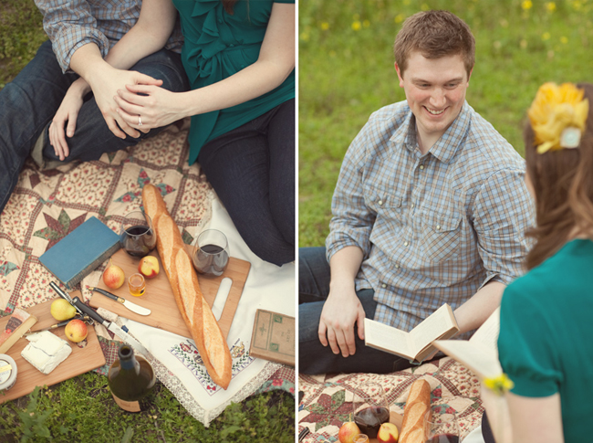 Couple holding hands outside while sitting on a picnic blanket with bread, wine, vintage books, pens and wood cutting board (left photo); Engagad couple sitting on outside on picnic blanket reading vintage books to each other (right photo)