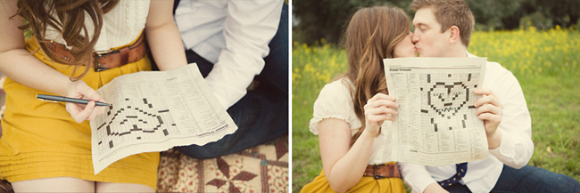 Girl and guy sitting in mustard flower field on picnic blanket with crossword puzzle in a heart shape (left photo); Couple kissing holding up a crossword puzzle in the shape of a heart, with yellow flower field in the background (right photo)