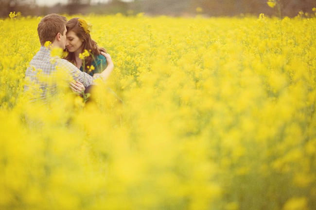 Engaged couple sitting in Field of Yellow Mustard Flowers. Guy kissing girls forhead.