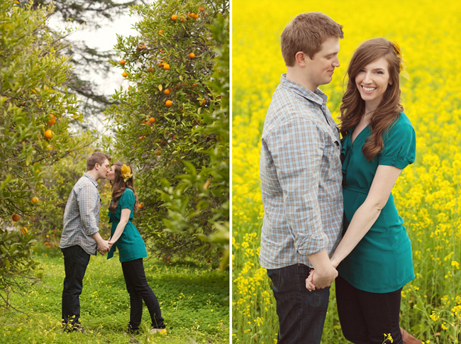 Engaged couple kissing in pear orchard wearing black pants. Girl wearing a teal top with yellow flower hair accesory in her hair and guy wearing a square pattern button up shirt (left photo); Engaged couple holding hands in yellow mustard flower field wearing black pants. Girl wearing a teal top and guy wearing a square pattern button up shirt