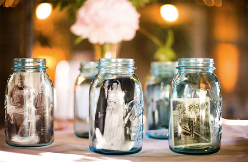 mason jars with old photos as centerpiece