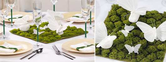 moss & butterflies as a wedding centerpiece