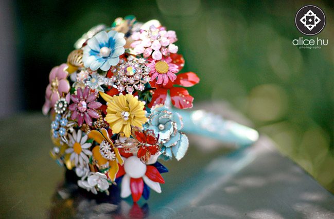 Multi-color brooch bouquets in 15 Non Floral Bouquets: Feathers, Wheat, Sola Flowers, and more