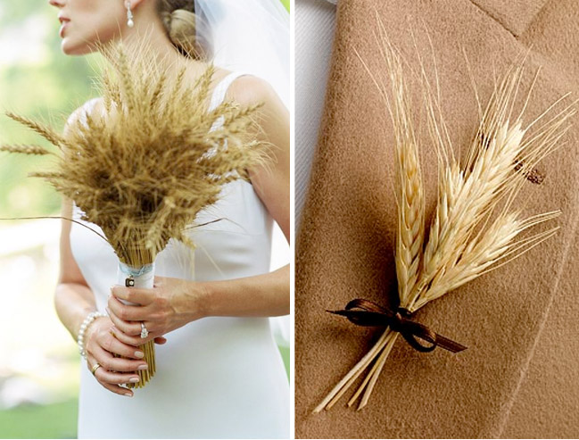 wheat bridal bouquet and wheat boutonniere with brown ribbon