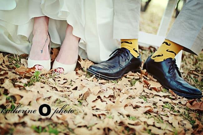 yellow socks with mustache