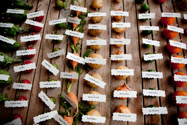 vegetables with names attached on paper