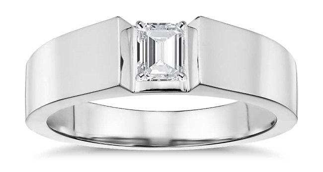 Flat Solitaire Engagement Ring with emerald cut diamond 1