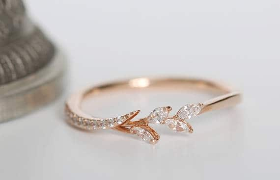 Natural leaf wedding band ring with diamonds