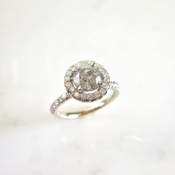 Salt and Pepper Diamond Halo eNGAGEmeNt Ring