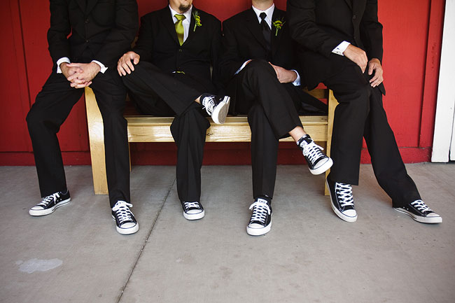 groomsmen in black converse shoes