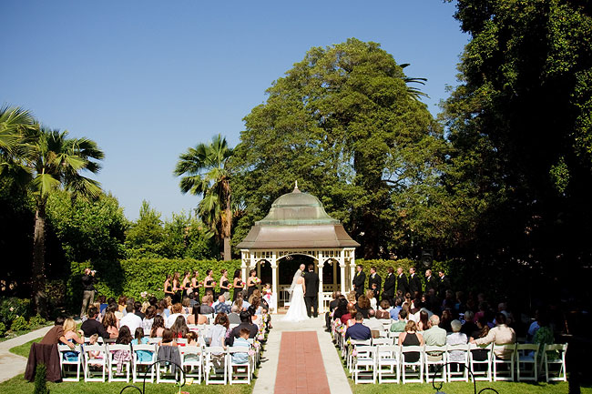 Camarillo Ranch wedding ceremony outdoors at the gazebo