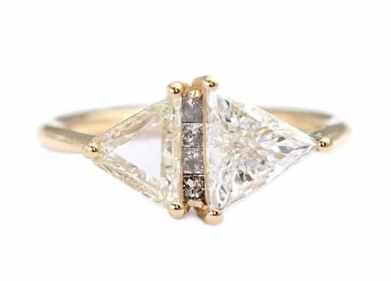 Trillion Cut Diamond Engagement Ring Triangles