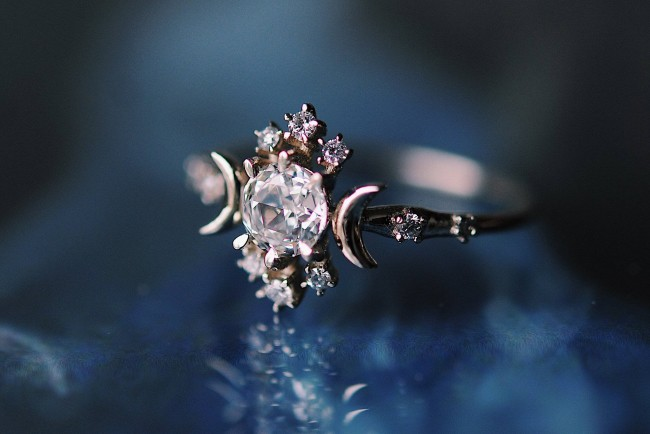 Unique moon and stars engagement ring