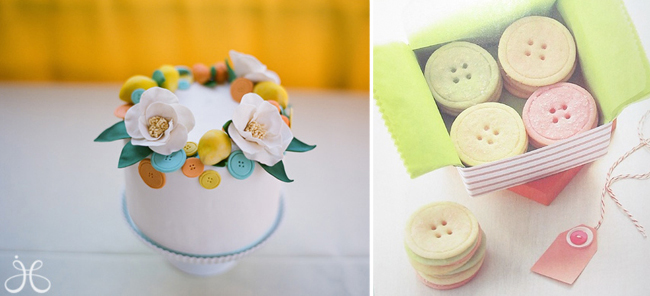 Mini white 1 tier cake topped with edible blue, yellow and orange buttons (left photo); A box of yellow, pink and green Button sugar cookies
