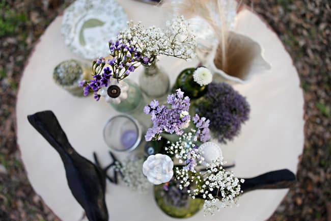 crows and bottles tablescape
